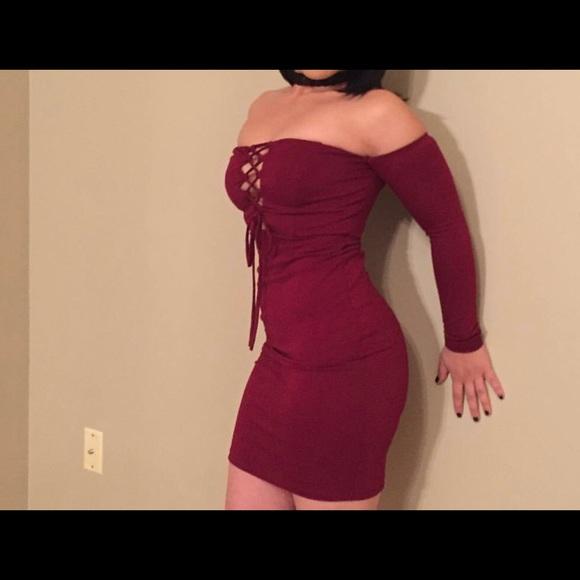 50335879d1 Fashion Nova Dresses   Skirts - Fashion Nova Burgundy Off The Shoulder Dress